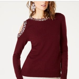 Inc Embellished Cold Shoulder Sweater by Macy's
